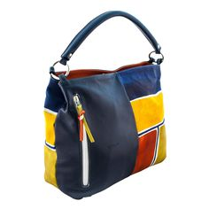 Astore Bag Acquerello Blu Beta 100% Genuine Leather Fully Handpainted 100% Made in Italy Size: 33x31x14cm
