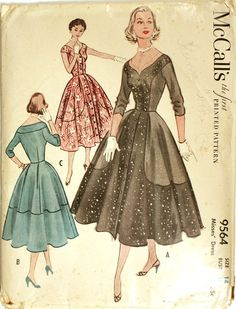 Vintage Sewing Pattern - Day or Evening Dress with Contrast Panels, Sweetheart Neckline - 1953 McCall's Bust from FriskyScissors on Etsy. Evening Dress Patterns, Vintage Dress Patterns, Moda Vintage, Vintage Mode, Vintage Outfits, Vintage Dresses, Illustration Mode, Illustrations, 1950s Fashion