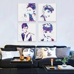 Watercolor Audrey Hepburn Portrait Poster Prints Wall Art Canvas Paintings Gifts | Home & Garden, Home Décor, Posters & Prints | eBay!
