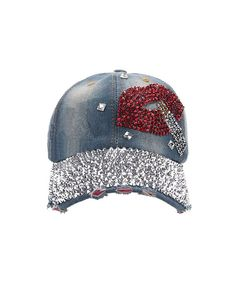 bb3fc843 Lady Studded Rhinestone Lip Design Adjustable Baseball Cap E-blue3  CE11N3UJOJ9
