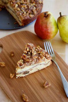 Pear and Walnut Sour Cream Coffee Cake