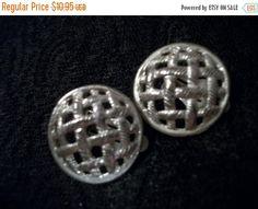 Clip-On Earrings Open Basket Weave Silver by SpringJewelryThings