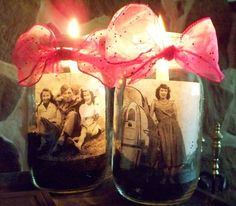 Images of your mum inside vases with fairy lights may be a lovely touch to run along the table.