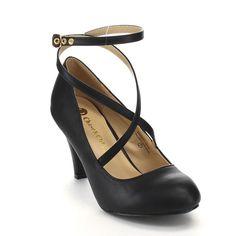 Beston CC01 Women's Round Toe Criss Cross Strap Mid-heel Pumps