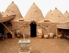 Harran Turkey ~ famous for its traditional 'beehive' adobe houses, constructed entirely without wood. The design of these makes them cool inside (essential in this part of the world) and is thought to have been unchanged for at least 3,000 years.