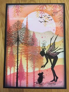This is my mid month reminder for this months Lavinia Challenge. 'Sunset Pinks' Don't forget to enter your works of art Here . Rubber Stamp Company, Lavinia Stamps Cards, Fairy Silhouette, Karten Diy, Fairy Pictures, Hand Stamped Cards, Angel Cards, Ink Stamps, Fairy Art