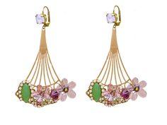 Boucles d'oreilles fleuries modèle rose et doré-collection Mimosa de la boutique EcrindeLoula sur Etsy