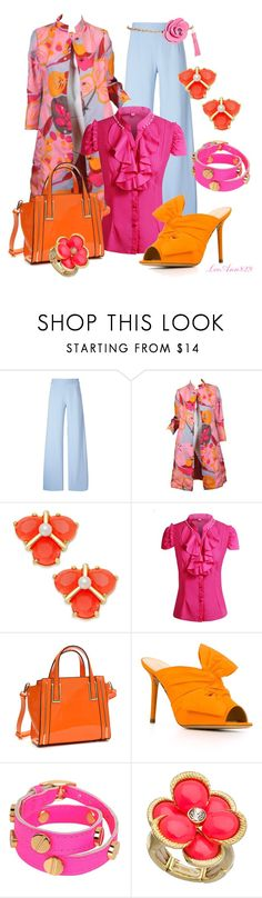 """Flower coat contest"" by leeann829 ❤ liked on Polyvore featuring Christopher Kane, Bill Blass, Kate Spade, Dasein, Charlotte Olympia, CC SKYE, Blu Bijoux and Ashley Stewart"