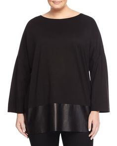 Oversized Faux-Leather Dolman Tee, Black, Women\'s by Lafayette 148 New York at Neiman Marcus Last Call.