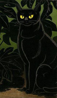 Inagaki Tomoo (Japan, 1902 - 1980) - Cat in Bush (detail) - Shôwa period, 20th century - Woodblock print; ink and color on paper - Harvard Art Museums/Arthur M. Sackler Museum