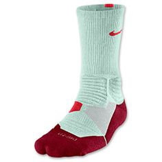 Men\u0027s Nike Hyper Elite Basketball Crew Socks | Finish Line | Medium  Mint/University Red