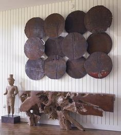 Rusted Metal Wall Discs Made from Oil Drum Lids Each Disc Varies by Color and Depth  Sold Individually
