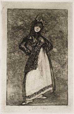 "Goya: ""Maja sobre fondo oscuro"". Serie ""Últimos caprichos"" [3]. Etching, aquatint and burnisher, 191 x 122 mm, 1826-1828."