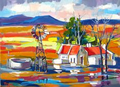 Farm Paintings, African Paintings, Mini Paintings, Collages, South African Artists, Landscape Artwork, Name Art, Artist Painting, Knife Painting