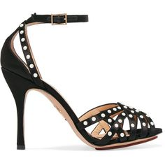 Charlotte Olympia Picalilly faux pearl-embellished satin sandals ($815) ❤ liked on Polyvore featuring shoes, sandals, black strap sandals, black satin sandals, peep toe sandals, high heel shoes and cage sandals