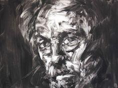 Paul Wright—Suspicious Mind Contemporary Male Portraits Paul Wright Printmaking: Monotype on Paper Abstract Portrait, Portrait Art, Portraits, Paul Wright, Monochromatic Art, Polygon Art, Jackson's Art, Engraving Illustration, A Level Art