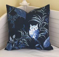 Kravet Owlish in Navy Designer Pillow Cover  Square and Euro