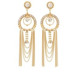 Charlotte Russe Embellished Fringe Chandelier Earrings (20 BRL) ❤ liked on Polyvore featuring jewelry, earrings, gold, beaded fringe earrings, charlotte russe jewelry, charlotte russe earrings, chandelier earrings and beaded jewelry