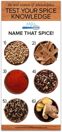 Name that Spice Quiz Corriander, cinnamon, paprika, peppercorns, cloves and ginger root Philadelphia Recipes, Coriander, Cinnamon, Spices, Appetizers, Cheese, Cream, Vegetables, Desserts