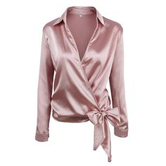 SheIn offers Satin Knotted Hem Surplice Blouse & more to fit your fashionable needs. Blouse En Satin, Blouse Sexy, Satin Blouses, Wrap Blouse, Collar Blouse, Shirt Blouses, Bow Blouse, Pink Blouses, Sexy Bluse