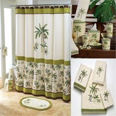 Catesby Palm Tree Shower Curtain And Bath Accessories By Avanti
