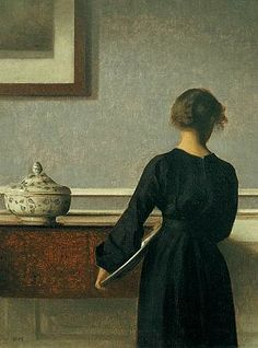 Vilhelm Hammershøi    Interior, Young Woman Seen From Behind