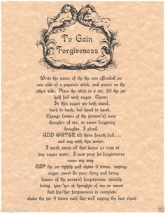 To Gain Forgiveness Spell Book of Shadows Page BOS Pages Witchcraft Parchment | eBay