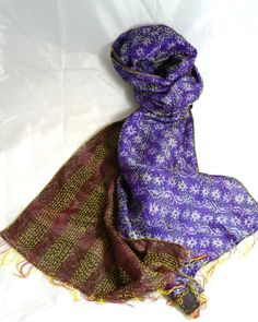 INDIAN KANTHA 100% SILK NEW VINTAGE SCARF Purple Taupe and Grey No 115