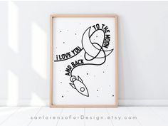 I Love You To The Moon and Back Printable Wall Art Moon and   Etsy Fathers Day Coloring Page, Photo Frame Display, Playroom Wall Decor, Boho Nursery, Little Girl Rooms, To Color, Gifts For Father, Printing Services, Unique Art