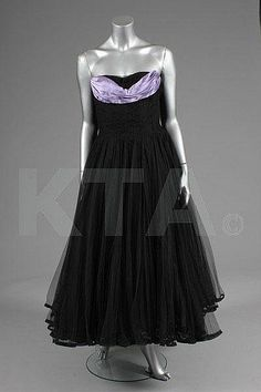 A Maggy Rouff couture black tulle ball gown, circa 1955