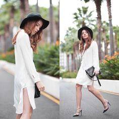 Silver Girl - Valentino Rock Stud Heels, Zara Green Fedora, Massimo Dutti Leather Shoulder Bag, Zara White Shirt Dress, Rock N' Rose Golden Headchain - PALM SPRINGS   LOOKBOOK