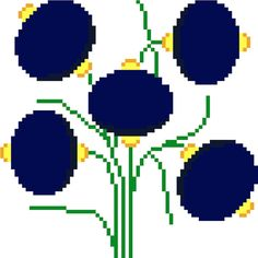 Large lantern shaped flowers. Modern cross stitch design. Contemporary cross…