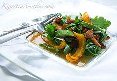 Sałatka z kurkami, grillowaną papryką i awokado