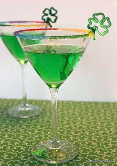 St. Patrick's Day Drink Ideas - Rainbow Rim Sugar | Oh My Creative