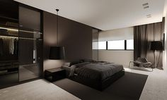 Black and white bedroom. Light boxes?