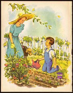 Boy Helping Mother in Vegetable Garden - Pelagie Doane - 1945 Vintage Print | eBay