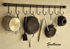 Iron Pot Rack - Iron Pot Racks for Tuscan Kitchen Design - Iron S Hooks and Pot Hangers