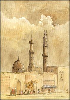 Al Azhar Mosque minaret, Cairo, Egypt, orientalist watercolor painting by Juan Bosco