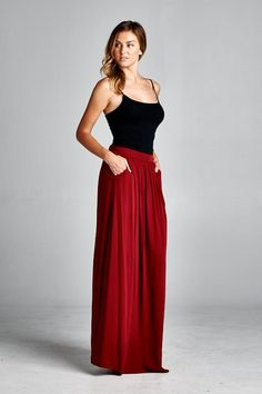 Taylor Skirt in Pomegranate with pockets | Emma Stine Limited