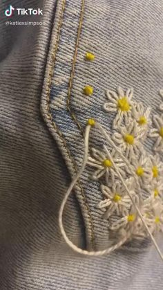 Hand Embroidery Videos, Embroidery Stitches Tutorial, Embroidery Flowers Pattern, Creative Embroidery, Simple Embroidery, Embroidery On Clothes, Hand Embroidery Stitches, Embroidery For Beginners, Hand Embroidery Designs