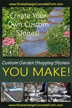 Make custom concrete stepping stone walkways, garden paths & patios with ROCKA DESIGN™ Custom Stone Maker. Garden Stones, Garden Paths, Stepping Stone Walkways, Concrete Forms, Garden Images, Pathways, Garden Projects, Backyard Ideas, Beautiful Gardens