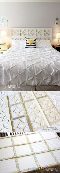 DIY Vintage Sheet Headboard - simple and chic! I love that you can change out the fabric too! Girls Headboard, Diy Headboards, Headboard Ideas, Vintage Headboards, Bedroom Girls, Trendy Bedroom, Bedrooms, Diy Fabric Headboard, Cheap Diy Headboard