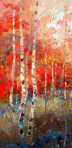 Troy Collins : Love this colors and bold paint brushes Note: try this with tissue paper Art Aquarelle, Watercolor Art, Landscape Art, Landscape Paintings, Landscapes, Art Pages, Tree Art, Painting Inspiration, Painting & Drawing