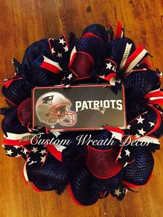 New England Patriots Wreath by CustomWreathDecor on Etsy