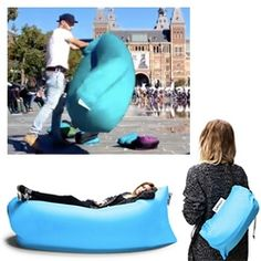 Lamzac - an air filled hammock like seat that you fill by scooping it full of air! (Seems to be like a roll top dry bag)