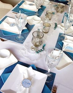 Decorated table for an Elegant Frozen Birthday Party!  See more party ideas at CatchMyParty.com!