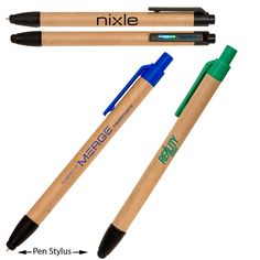 Eco-Friendly Paper Barrel Pen & Stylus, an Eco-Responsible™ product. Natural, recyclable paper barrel click-action ballpoint pen with soft silicone rubber stylus for use with an iPad® or any other touchscreen device. Ballpoint extends through the stylus. Marketing Words, Eco Friendly Paper, Silicone Rubber, Ballpoint Pen, Stylus, Barrel, Recycling, Earth, Global Warming