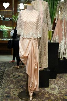 draped gown sari, saree, concept saree, anamika khanna, peach, champagne colored, cape, lace, modern, edgy,Anamika Khanna