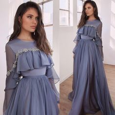 Lace Beaded Cheap African Evening Dresses Long Sleeves Chiffon Prom Dresses A-line Formal Party Bridesmaid Pageant Gowns African Evening Dresses, Long Sleeve Evening Dresses, Sleeved Prom Dress, Long Sleeve Chiffon Dress, Beautiful Gown Designs, Beautiful Gowns, Beautiful Beautiful, Look Fashion, Hijab Fashion