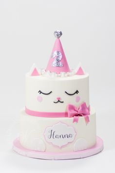 This Whipped Bakeshop custom cake was for the loveable, Hanna. Find out more about this custom cake by clicking the image! Birthday Cake For Cat, 1st Birthday Girls, Birthday Ideas, Cat Themed Parties, Birthday Parties, Kitten Cake, Chat Kawaii, Animal Cakes, Dog Cakes